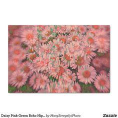 Daisy Pink Green Boho Hippie Vintage Floral Art Tissue Paper Decoupage Tissue Paper, Custom Tissue Paper, Boho Green, Pink And Green, Paper Daisy, Hippie Lifestyle, Boho Hippie, Artwork Design, Small Gifts