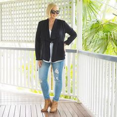 Today's #everydaystyle ... you know you're a born and bred Queenslander when you declare it jeans and (light) jacket weather just because the temperature gauge has dipped below 30 degrees for more than two days. And yes, the jacket was off by lunch time!  Wearing: @bohemian.traders jacket and jeans (available in the Styling You Shop - follow the link in profile); @sussanfashion layering tank; and @frankie4footwear IZZY boots in tan  Want to discover more ways to wear these pieces? Join our…