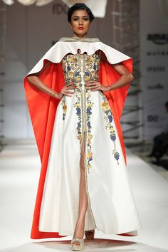 Ivory thread and zari embroidered gown with ivory detachable cape