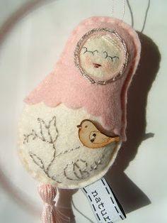 My doll with little bird - felt/wool