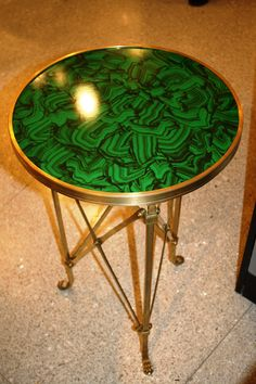 High Point Fall 2011-This malachite table from Global Views is hopefully going to be in my home sometime soon! Isn't it beautiful? #hpmkt