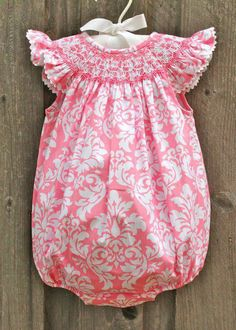 Smocked Damask Bubble from Smocked Auctions
