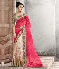 Cream & Pink Color Georgette Festival & Function Wear Sarees : Parth Collection YF-36663