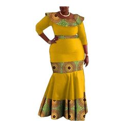 Image of Elegant African print mermaid dress designs three quarter sleeve O-neck ankle-length trumpet women cotton dress African Dresses For Kids, Latest African Fashion Dresses, African Print Fashion, African Attire, African Wear, African Fashion Traditional, 1 Piece Dress, Skinny Fashion, Cotton Dresses