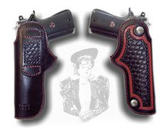 For a 1911 Colt style pistol, this gun holster has red color stitching to match the carved outline. Inner basketweave section was hand tooled.