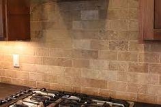 Natural Stone Backsplash Kitchen Interior Herringbone