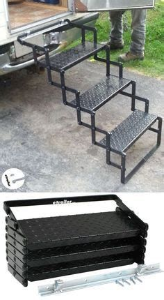 These Truck Bed Camper steps are sturdy, and well constructed. The mounting hardware/bracket are easy to install and make it easy to add/remove the steps from my slide-in camper with ease. The steps lock shut when folded up, making them easy to transport. Camper Steps, Truck Bed Camper, Truck Bed Slide, Rv Truck, Slide In Camper, Kombi Home, Welding Table, Welding Art, Metal Welding