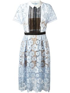 Self-Portrait flower garden guipure sleeve midi dress, Women's, Size: 10, Blue, Polyester/Cotton/Spandex/Elastane