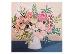 Large Flowers Painting. Flowers from Aitana. Floral by Lunartics