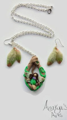 Green Fairy Necklace Fairy Necklace Nature Fairy by AnakyasArts