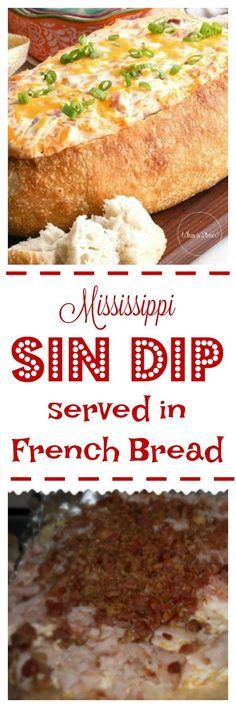 Mississippi Sin Dip in a French Bread Loaf, perfect game day appetizer recipe for tailgating or parties at home - DENİSE Bacon Recipes, Dip Recipes, Appetizer Recipes, Bread Recipes, Snack Recipes, Mississippi Sin Dip, French Bread Loaf, Crock Pot Bread, Bacon On The Grill