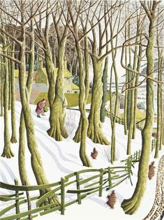 """Planting Snowdrops"" by Simon Palmer, 1997 (pencil, ink, watercolour and gouache) Lino Art, Painting Snow, Garden Painting, Winter Art, Winter Time, Landscape Artwork, Naive Art, Tree Art, Illustrations Posters"