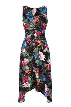 Petite Palm Floral Dip Hem Dress