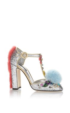 Glitter & Pompom Mary Jane by Dolce & Gabbana