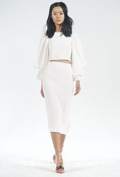 A Sleek Croptop Wedding Dress By Houghtonnyc Brides