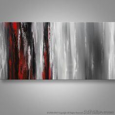 Abstract Painting, Wall Art, Landscape Painting, Black white Red