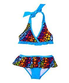 Look what I found on #zulily! Pink Platinum Black & Blue Hearts Bikini - Infant by  #zulilyfinds