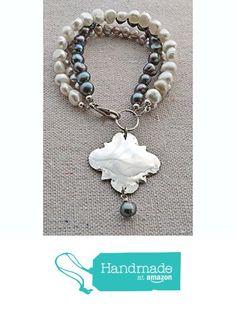 Silver Quatrefoil Grey Pearl Bracelet from Tanna Gilder https://www.amazon.com/dp/B0165VDE1E/ref=hnd_sw_r_pi_dp_Q9aMxbP5QYBQM #handmadeatamazon