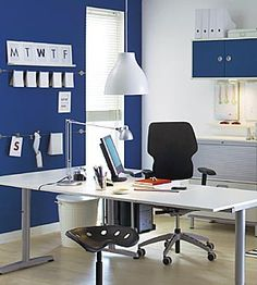 Duke Blue And White Office   Making It Andrewu0027s Space Also. (Paint Effects,  Home Decorating Tips, The Latest Painting Colour Trends   Paint Quality ...