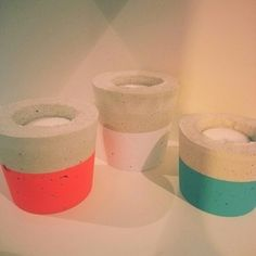 Turquoise, White and Neon Concrete Candle Set