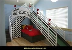 A rollercoaster in your bedroom! What little boy DOESN'T want this (well, obviously, one that doesn't like rollercoasters), but this is awesome! Way to go to the parents who worked this out! Bedroom Setup, Kids Bedroom Sets, Bedroom Themes, Bedroom Decor, Bedroom Ideas, Kid Bedrooms, Bedroom Designs, Creative Kids Rooms, Cool Kids Rooms