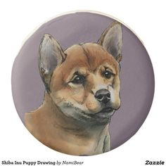 Shiba Inu Puppy Drawing Chocolate Covered Oreo. This is a rendering of a shiba inu dog having a peaceful look on its face. It was drawn with pencil and then colored digitally with pastel.