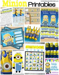 Looking for Minion printables for a birthday party or a even for homeschooling lessons? You'll find printables here for games, activities, parties, education and coloring. If you want a Minion Printable of any kind, you'll find it in this post. Minion Printables. SunshineandHurricanes.com