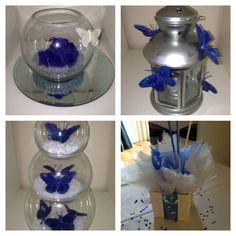 www.facebook.com/weddingfinds for wedding theme ideas.  This is royal blue centrepiece ideas by us at Balloon Decor www.facebook.com/balloondecoressex