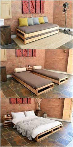 Southern Home Interior Cama gemela para la finca Pallet Furniture, Home Furniture, Furniture Design, Smart Furniture, Furniture Ideas, Sofa Bed Design, Multipurpose Furniture, Bedroom Furniture, Modular Furniture