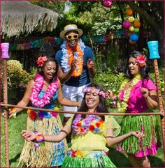 Hawaiian Themed party for a 12 year oldI chose the theme because the kids wanted to wear summer swimwear.  he hero of the party is the jumping castle and wimming pool weather permitting.