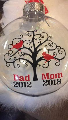 Good for when parents dies that way you have the date of their deaths as a keepsake and you'll always have that and you can keep that ornament on top of your tree as  a memory of them . Mabe get modge podge and paste a picture of mom and dad on the clear glass ornament or whatever ornament you pick . Clear Glass Ornaments, Mom Pictures, Wine Glass, Christmas Bulbs, Mother Photos, Christmas Light Bulbs
