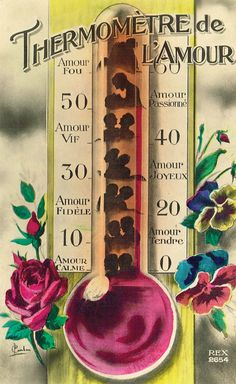 Love Thermometer, 1930s Art Deco French Romantic Kitsch Fantasy Passion Levels from High to Low Depending on Lovers Mood Original Postcard
