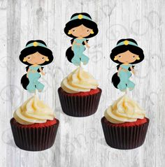 Jasmine Single Cupcake Toppers/Jasmine Toppers/Princess Toppers/ Girl Party by DianasDen on Etsy