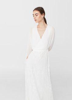 Vestido comprido bordado