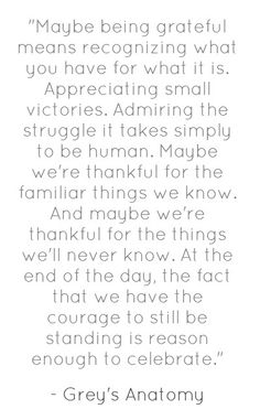 Grey's Anatomy quote... There's a lot of things to be grateful and thankful for. Things that make us stronger.