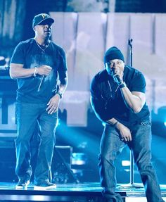 "Chuck D, left, and host LL Cool J perform ""Refuse to Lose"" and ""No Sleep Till Brooklyn,"" closing out the 55th Grammy Awards show - 2013."