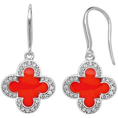 Marie Claire Jewelry Crystal Silver Tone Clover Drop Earrings (Orange) (57 CAD) ❤ liked on Polyvore