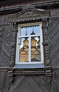 Russian window - 13 of February by Tatiana Nesterova Wooden Architecture, Russian Architecture, Architecture Details, Wooden Window Frames, Wooden Windows, Old Shutters, Repurposed Shutters, Traditional Windows, House Trim