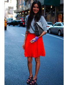 bright red skirt