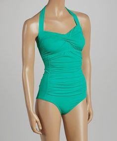 Look at this #zulilyfind! Emerald Halter One-Piece - Women #zulilyfinds