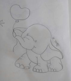 cute elephant w/ balloon drawing Baby Embroidery, Hand Embroidery Stitches, Embroidery Designs, Pencil Art Drawings, Art Drawings Sketches, Cute Drawings, Applique Patterns, Applique Quilts, Quilt Patterns