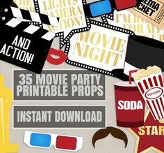 35 Movie Night Party Props, Hollywood Photo booth party prop ideas, old cinema party props, movie night in decor, oscar awards evening props by YouGrewPrintables on Etsy