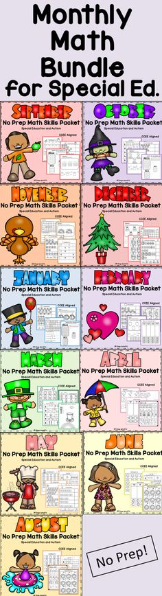 No Prep, Monthly Math Packets for special education, autism and intervention! Get 10 packets in this bundle to save you time for your math block and also work on IEP math skills.