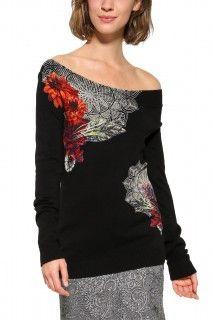 Desigual černý svetr Aneta - 2199 Kč Black Off Shoulder, Pullover, Winter Sweaters, Pulls, Casual Dresses, Tunic Tops, Blouse, Stuff To Buy, Clothes