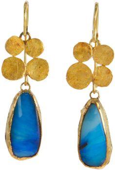 Judy Geib Opal Quadruple Squash Earrings in Yellow Opal Earrings, Jewelry Art, Gemstone Jewelry, Jewelry Accessories, Jewelry Design, Drop Earrings, Unique Jewelry, Brass Jewelry, Family Jewels