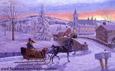 Carriage sleigh in the snow. I added falling snow to it. DF