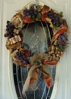 Wine Cork Wreath Glass Sugar Beaded Grapes Burlap by dables, $65.00