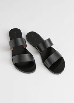 Duo Strap Leather Sandals - Black - Flat sandals - & Other Stories Strap Sandals, Shoes Sandals, Boho Shoes, Gladiator Sandals, Heels, Fancy Shoes, Flat Shoes, Minimalist Shoes, Mood Indigo