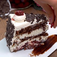 Insane Brownie Chocolate Cake Recipe, a deep rich chocolate cake and the best. Chocolate Peanut Butter, Chocolate Recipes, Chocolate Cake, Easy Cake Recipes, Cookie Recipes, Dessert Recipes, Black Forest Cake, Birthday Desserts, Food Cakes
