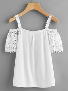 Crochet Lace Insert Cold Shoulder Top Only US$9.00